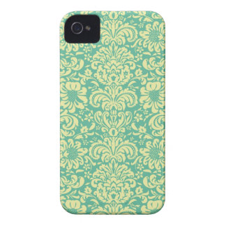 Turquoise/Cream Damask iPhone 4 Cover