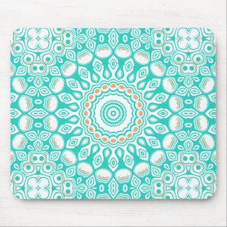 Turquoise & Cream Kaleidoscope Flowers Design Mouse Pad