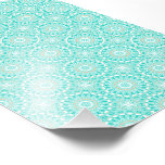 Turquoise & Cream Kaleidoscope Flowers Design Photograph