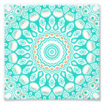 Turquoise & Cream Kaleidoscope Flowers Design Photo Print