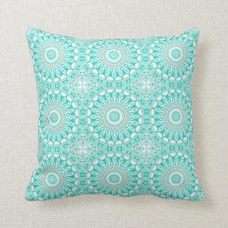 Turquoise Cream Kaleidoscope Flowers Design Throw Pillows