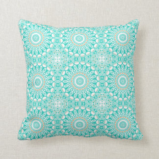 Turquoise & Cream Kaleidoscope Flowers Design Pillow