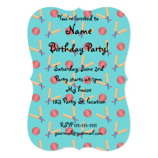 Turquoise cricket pattern 5x7 paper invitation card