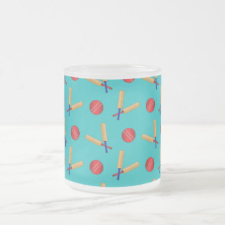 Turquoise cricket pattern 10 oz frosted glass coffee mug