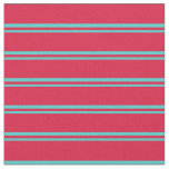 [ Thumbnail: Turquoise & Crimson Striped Pattern Fabric ]
