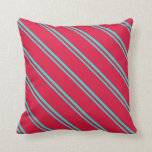 [ Thumbnail: Turquoise & Crimson Striped Pattern Throw Pillow ]