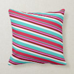 [ Thumbnail: Turquoise, Crimson, Violet, Dark Red, and White Throw Pillow ]