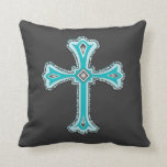 Turquoise Cross Decorative Throw Pillow at Zazzle