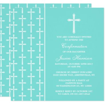 Beach Themed Turquoise Cross Holy Communion Or Confirmation Card