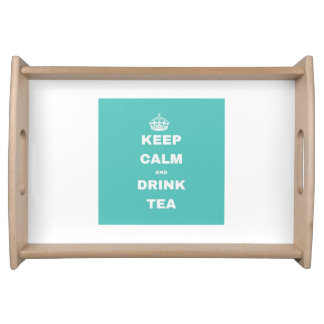 Turquoise Crown KEEP CALM AND DRINK TEA Tray