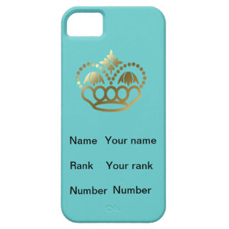 Turquoise, Crown, with Name, Rank and Number iPhone SE/5/5s Case