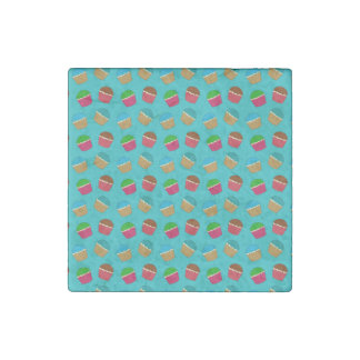 Turquoise cupcake pattern stone magnet