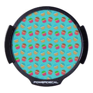 Turquoise cupcake pattern LED car decal