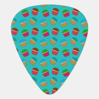 Turquoise cupcake pattern guitar pick
