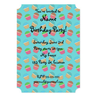 Turquoise cupcake pattern 5x7 paper invitation card