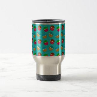 Turquoise cupcake pattern coffee mugs