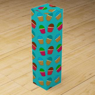 Turquoise cupcake pattern wine gift box
