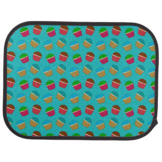 Turquoise cupcake pattern car mat