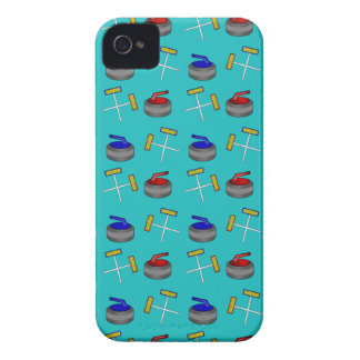 turquoise curling pattern iPhone 4 case