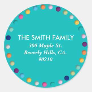 Turquoise Custom Address Label Round Polka Dots Classic Round Sticker