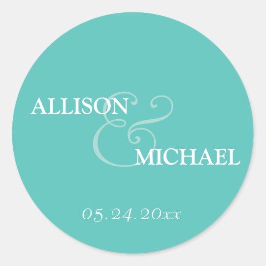 Turquoise custom ampersand wedding favor label