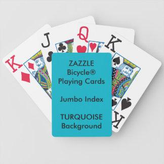 TURQUOISE Custom Bicycle Jumbo Index Playing Cards