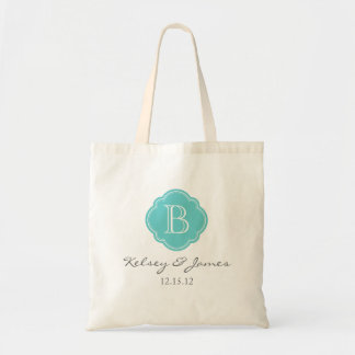 Turquoise Custom Monogram Wedding Favor Tote Canvas Bag