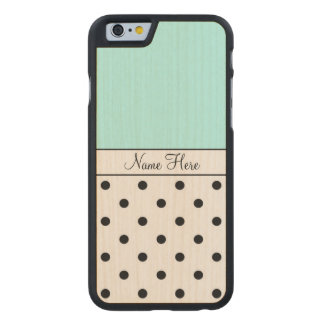 Turquoise Custom Name, Black Polka Dots Carved® Maple iPhone 6 Case