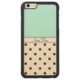 Turquoise Custom Name, Black Polka Dots Monogram Carved® Maple iPhone 6 Plus Bumper Case