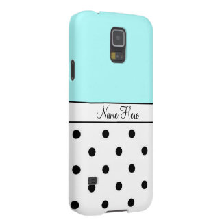 Turquoise Custom Name, Black & White Polka Dots Galaxy S5 Cover