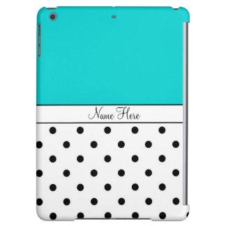 Turquoise Custom Name, Black & White Polka Dots iPad Air Covers