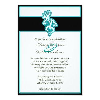 Turquoise Custom Outline Color Invitation