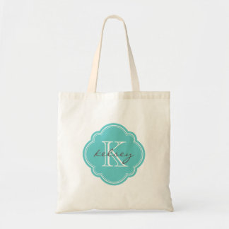 Turquoise Custom Personalized Monogram Tote Bag
