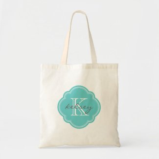 Zazzle Customizable Turquoise Personalized Monogram Tote Bags
