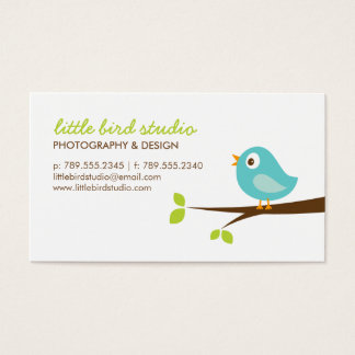 Turquoise Cute Bird on a Branch Business Card