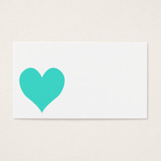 Turquoise Cute Heart Business Card