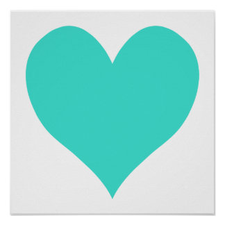 Turquoise Cute Heart Poster