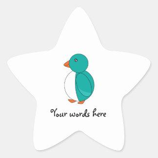 Turquoise cute penguin star sticker