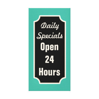 Turquoise Daily Specials Diner Sign Canvas