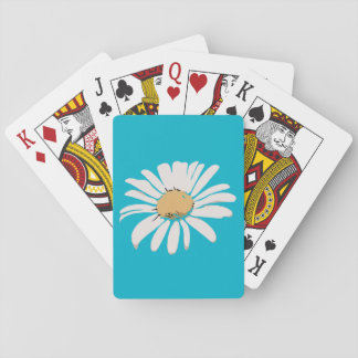 Turquoise Daisy Floral Playing Cards