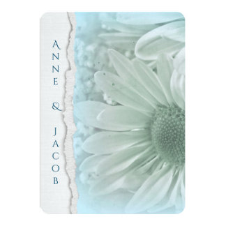 turquoise daisy macro on torn edge paper card