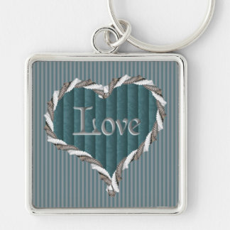 Turquoise Damask and Pinstripes Love Keychain