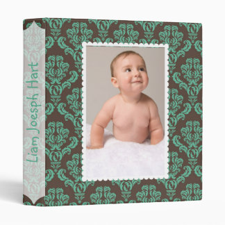Turquoise Damask Baby Album 3 Ring Binder