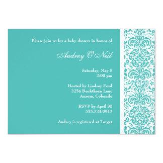 Turquoise Damask Baby Shower Invitation