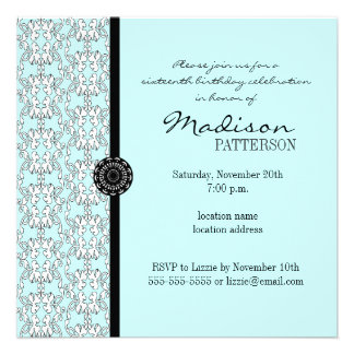 Turquoise Damask Baroque Sweet 16 Party Invitation