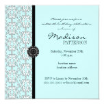 "Turquoise Damask Baroque Sweet 16 Party Invitation 5.25"" Square Invitation Card"