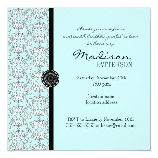"""Turquoise Damask Baroque Sweet 16 Party Invitation 5.25"""" Square Invitation Card"""