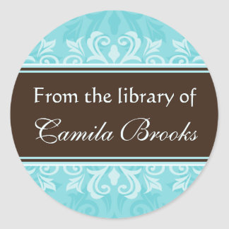 Turquoise damask bookplates/book labels/ex libris classic round sticker