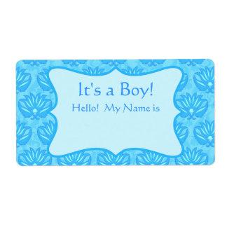 Turquoise Damask Boy Baby Shower Custom Name Tag Shipping Label
