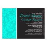 Turquoise Damask Bridal Shower Invitations Invitation